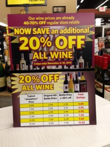 20% off wine sign